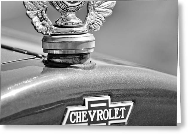 1928 Chevrolet Stake Bed Pickup Hood Ornament Greeting Card by Jill Reger