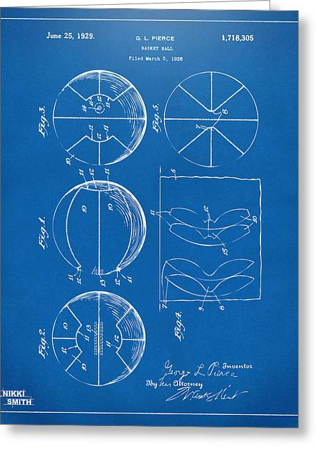 Basketballs Greeting Cards - 1929 Basketball Patent Artwork - Blueprint Greeting Card by Nikki Marie Smith