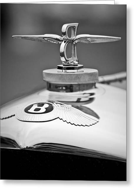 Gurney Greeting Cards - 1929 Bentley Speed Six Gurney Nutting Fixed Head Coupe Hood Ornament Greeting Card by Jill Reger