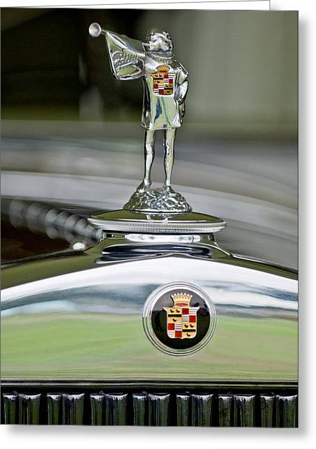 Dual Greeting Cards - 1929 Cadillac 1183 Dual Cowl Phaeton Hood Ornament Greeting Card by Jill Reger