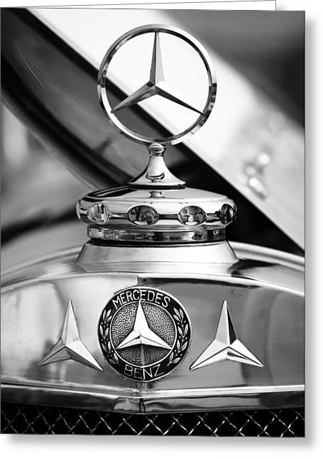 1929 Roadster Greeting Cards - 1929 Mercedes-Benz SS Barker Roadster Hood Ornament - Emblem Greeting Card by Jill Reger