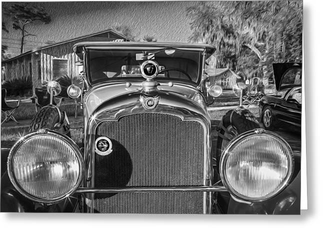 Rumble Greeting Cards - 1929 REO Flying Cloud Convertible BW  Greeting Card by Rich Franco
