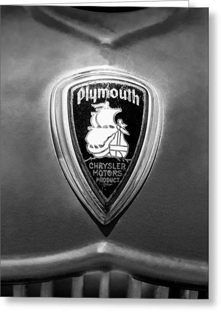 1930 Greeting Cards - 1930 Chrysler Plymouth Emblem Greeting Card by Jill Reger