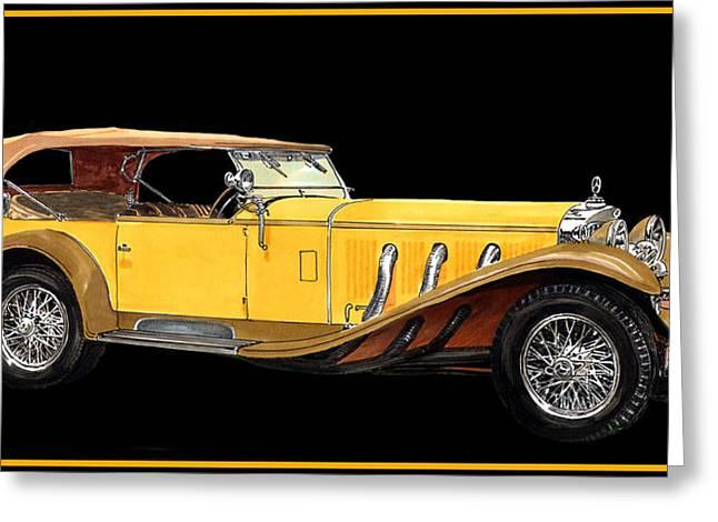 Peddle Car Greeting Cards - 1930 Mercedes Benz Ss Tourer Greeting Card by Jack Pumphrey