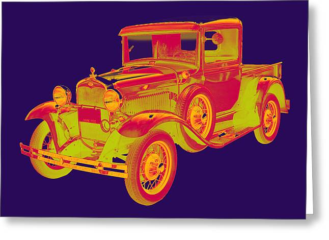 American Model Greeting Cards - 1930 Model A Ford Pickup Truck Pop Art Greeting Card by Keith Webber Jr