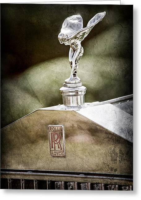 1930 Greeting Cards - 1930 Rolls-Royce Phantom I Transformal Phaeton Hood Ornament - Emblem Greeting Card by Jill Reger