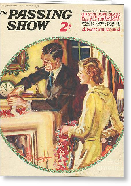 Christmas Eve Greeting Cards - 1930s,usa,the Passing Show,magazine Greeting Card by The Advertising Archives