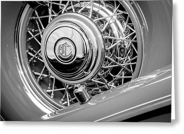 Cowling Greeting Cards - 1931 Chrysler CG Imperial Dual Cowl Phaeton Spare Tire Emblem Greeting Card by Jill Reger