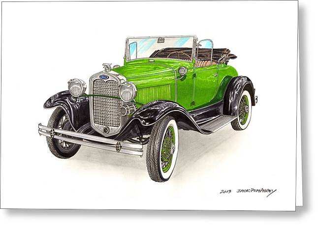 Painted Details Paintings Greeting Cards - 1931 Ford Model A Roadster Greeting Card by Jack Pumphrey