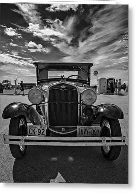 Ford Model T Car Greeting Cards - 1931 Model T Ford monochrome Greeting Card by Steve Harrington