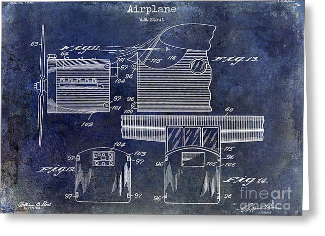 Blue Airplane Greeting Cards - 1932 Airplane Patent Drawing Blue Greeting Card by Jon Neidert