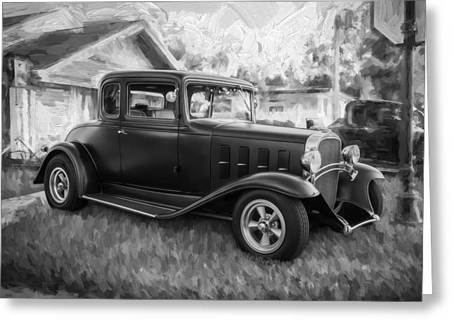 Hot Rodder Greeting Cards - 1932 Chevrolet 5 Window Coupe Painted BW  Greeting Card by Rich Franco