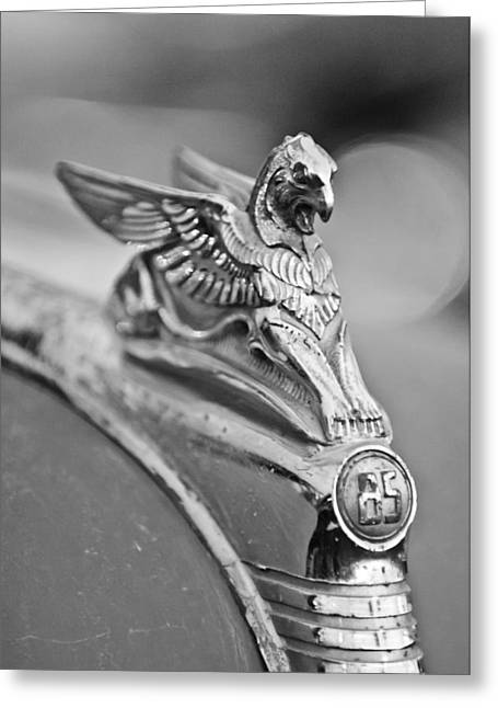 Griffin Greeting Cards - 1932 Essex Griffin Hood Ornament Greeting Card by Jill Reger