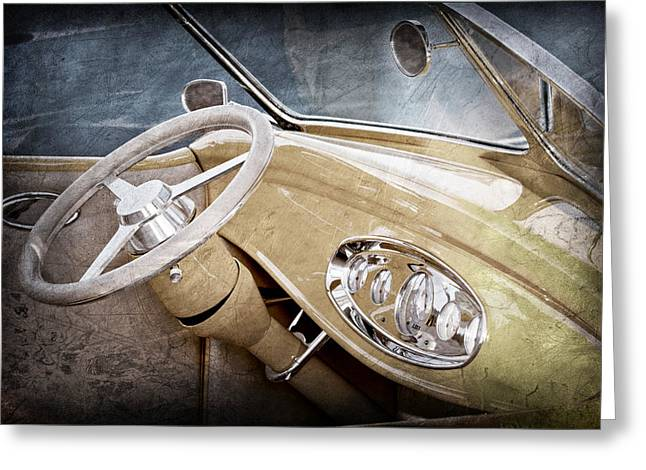 1932 Ford Greeting Cards - 1932 Ford Roadster Steering Wheel Greeting Card by Jill Reger