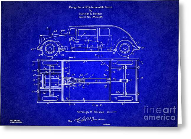 Historic Vehicle Mixed Media Greeting Cards - 1932 Harleigh Holmes Automobile Patent Greeting Card by Michael Braham