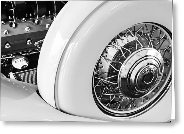 Dual Greeting Cards - 1932 Packard Dual Cowl Phaeton Engine - Spare Tire Greeting Card by Jill Reger