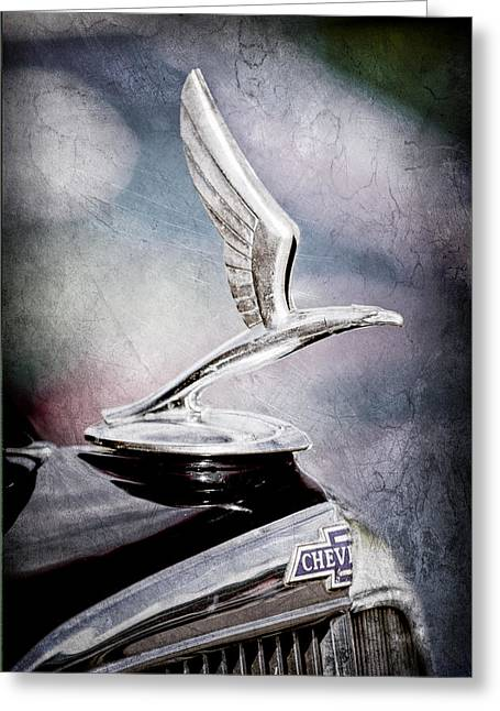 Masters Photographs Greeting Cards - 1933 Chevrolet Master Six Eagle Sedan Hood Ornament Greeting Card by Jill Reger