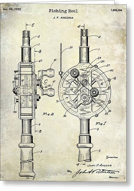 Penn Photographs Greeting Cards - 1933 Fishing Reel Patent Drawing Greeting Card by Jon Neidert