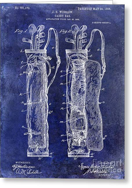 Caddy Greeting Cards - 1933 Golf Bag Patent Drawing Blue Greeting Card by Jon Neidert