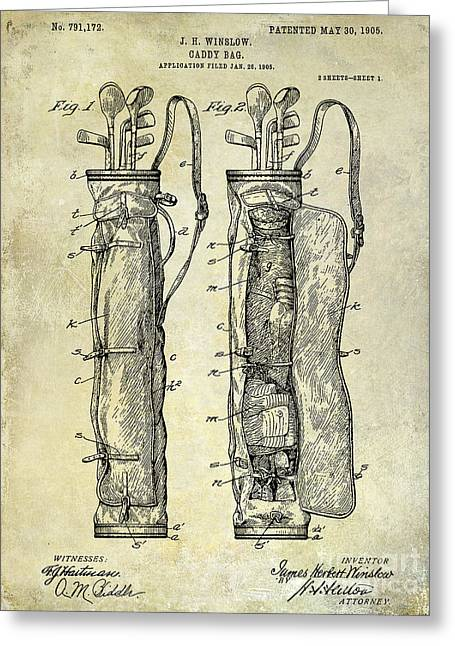 Shack Greeting Cards - 1933 Golf Bag Patent Drawing Greeting Card by Jon Neidert