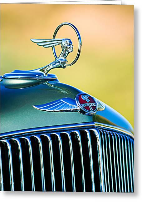 1933 Pontiac Greeting Cards - 1933 Pontiac Hood Ornament - Emblem Greeting Card by Jill Reger