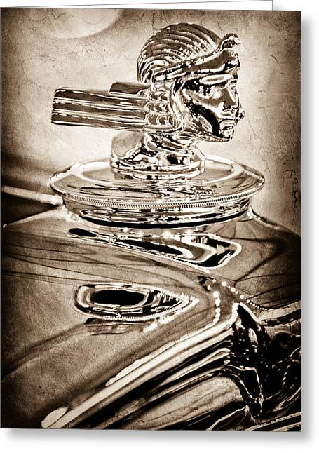 Dual Greeting Cards - 1933 Stutz Dv-32 Dual Cowl Phaeton Hood Ornament Greeting Card by Jill Reger