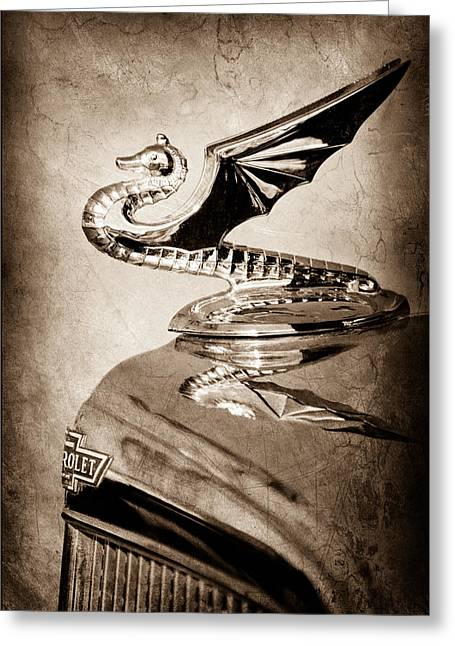1934 Greeting Cards - 1934 Aftermarket Chevrolet Hood Ornament Greeting Card by Jill Reger