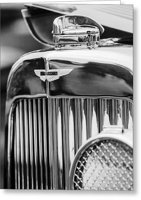 D.w Greeting Cards - 1934 Aston Martin Mark II Short Chassis 2-4 Seater Grille Emblem Greeting Card by Jill Reger