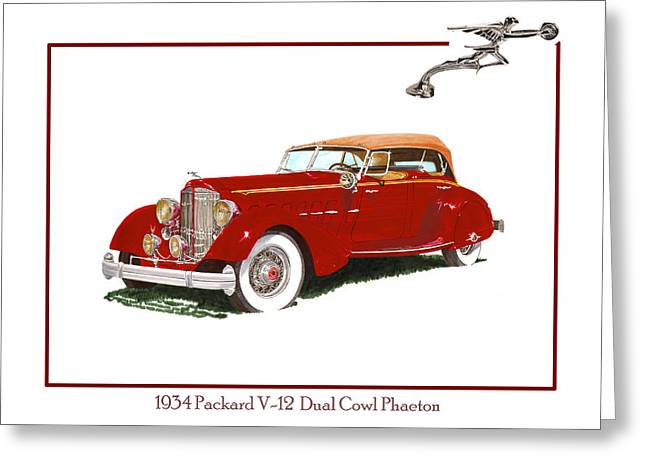 Sailboat Art Greeting Cards - 1934 Packard V-12 Dual Cowl Phaeton Greeting Card by Jack Pumphrey