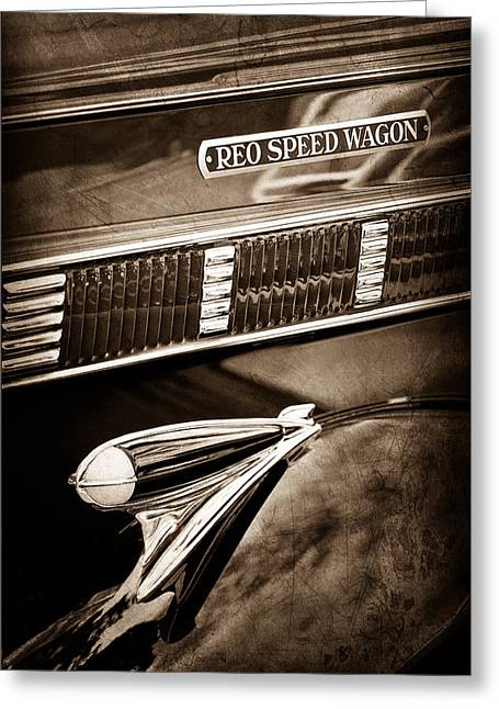 Classic Pickup Greeting Cards - 1935 Reo Speed Wagon 6AP Pickup Emblem Greeting Card by Jill Reger