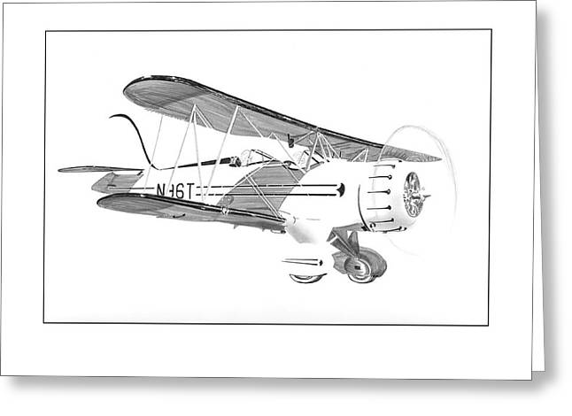 Waco Greeting Cards - 1935  Waco Bi Plane Greeting Card by Jack Pumphrey