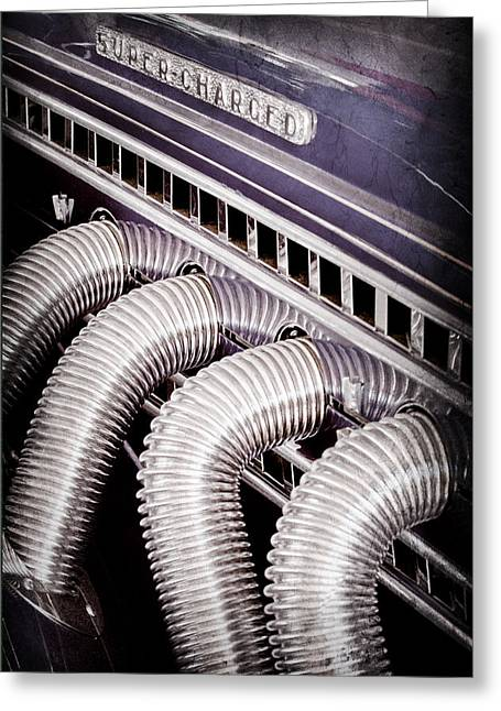 1936 Greeting Cards - 1936 Auburn Speedster Replica Side Pipes Greeting Card by Jill Reger
