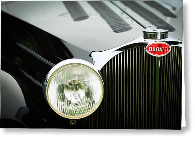 Bugatti Vintage Car Greeting Cards - 1936 Bugatti Type 57S Corsica Tourer Grille Emblem Greeting Card by Jill Reger