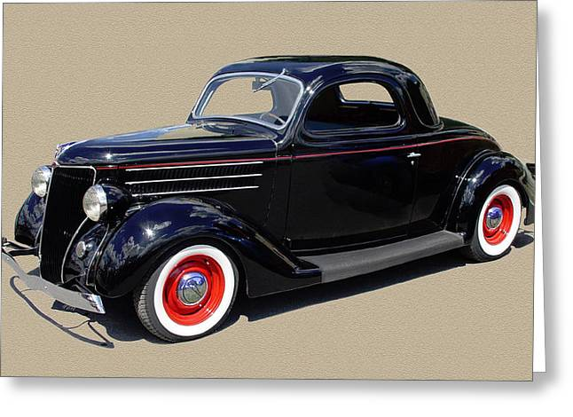 Enhanced Greeting Cards - 1936 Ford 3 window coupe Greeting Card by Jack Pumphrey
