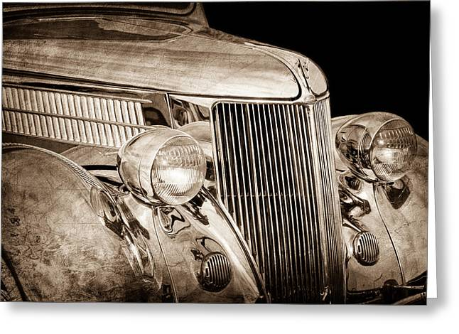 Stainless Steel Photographs Greeting Cards - 1936 Ford - Stainless Steel Body Greeting Card by Jill Reger