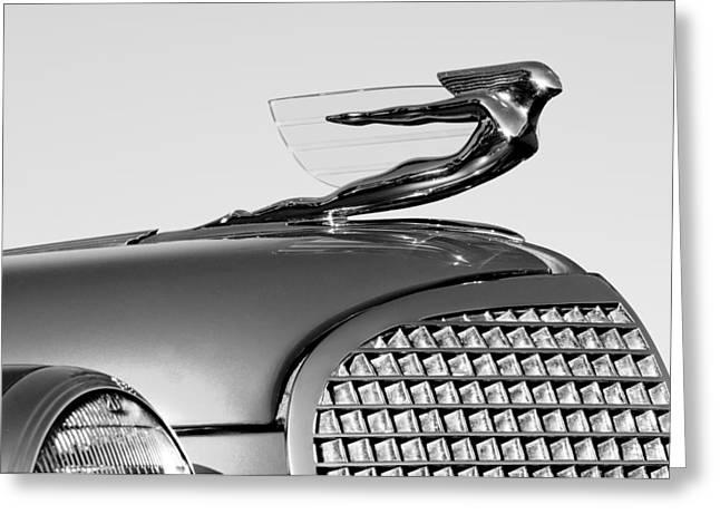 1937 Cadillac V8 Greeting Cards - 1937 Cadillac V8 Hood Ornament Greeting Card by Jill Reger