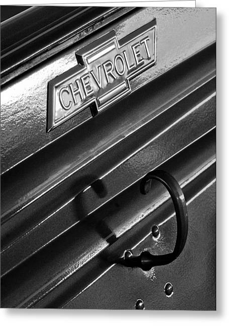 1937 Chevrolet Custom Pickup Emblem Greeting Card by Jill Reger