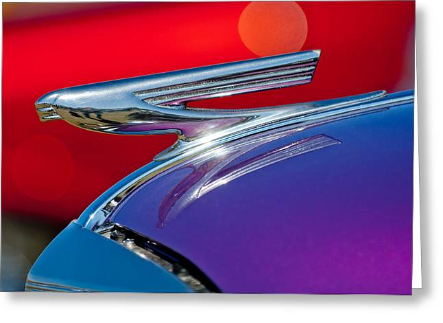 1937 Chevy Greeting Cards - 1937 Chevrolet Hood Ornament Greeting Card by Jill Reger