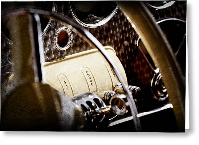 Controlled Greeting Cards - 1937 Cord 812 Phaeton Controls Greeting Card by Jill Reger