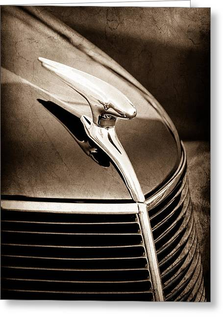 Vintage Hood Ornaments Greeting Cards - 1937 Ford Hood Ornament Greeting Card by Jill Reger