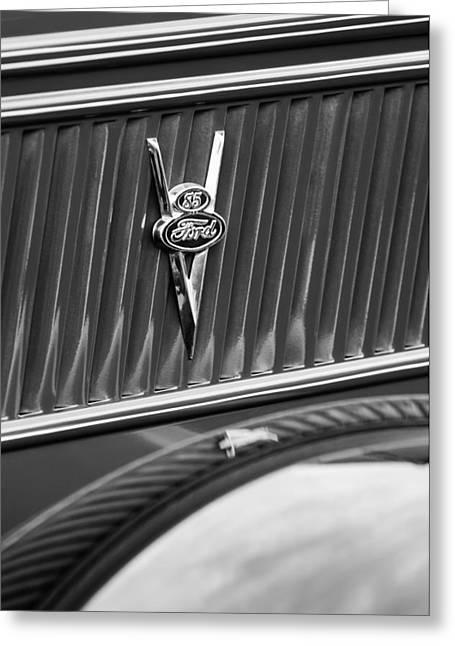 Classic Pickup Greeting Cards - 1937 Ford Pickup Truck V8 Emblem Greeting Card by Jill Reger