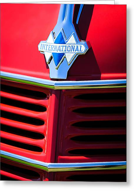 Classic Pickup Greeting Cards - 1937 International D2 Pickup Truck Grille Emblem Greeting Card by Jill Reger
