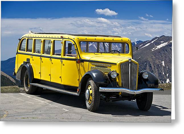 Bus Ride Greeting Cards - 1937 Whites Touring Bus Greeting Card by Dave Koontz