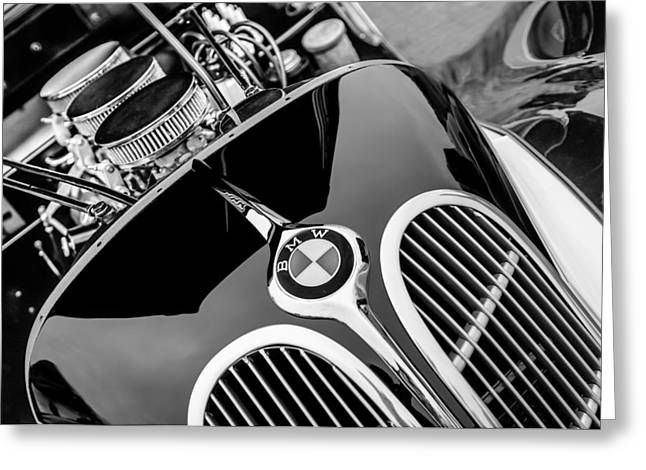 1938 Greeting Cards - 1938 BMW 327-8 Cabriolet Grille Emblem - Engine Greeting Card by Jill Reger