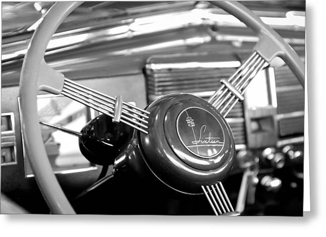Presidential Photographs Greeting Cards - 1938 Cadillac V-16 Presidential Convertible Parade Limousine Steering Wheel Greeting Card by Jill Reger