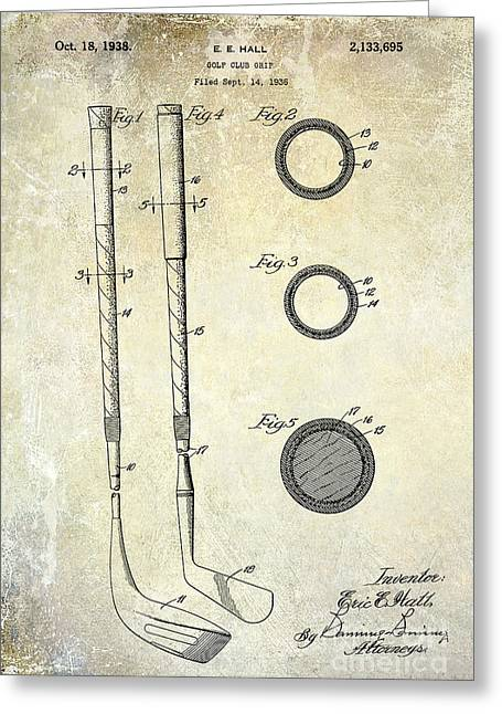 Fairway Greeting Cards - 1938 Golf Club Grip Patent Drawing Greeting Card by Jon Neidert