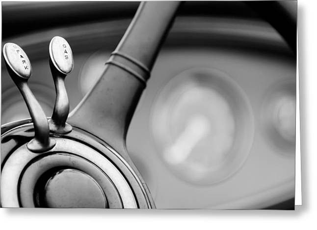 D.w Greeting Cards - 1931 Lincoln K Steering Wheel - Spark - Gas Controls  -1858BW Greeting Card by Jill Reger