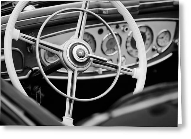 1938 Greeting Cards - 1938 Mercedes-Benz 540K Special Roadster Steering Wheel Greeting Card by Jill Reger