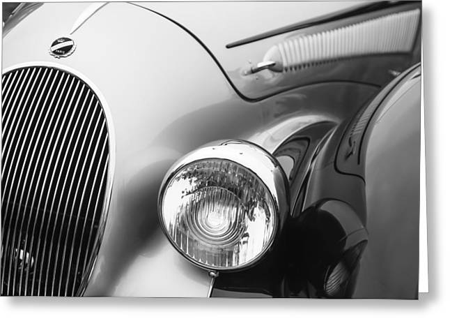 Headlight Greeting Cards - 1938 Talbot-Lago 150C SS Figoni and Falaschi Cabriolet Headlight - Emblem Greeting Card by Jill Reger