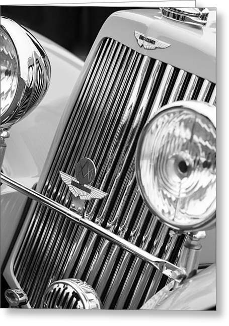 D.w Greeting Cards - 1939 Aston Martin 15-98 Abbey Coachworks SWB Sports Grille Emblems Greeting Card by Jill Reger